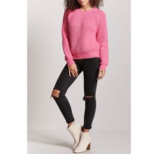 Forever 21 Pink Marled Yarn Sweater Jrs Medium